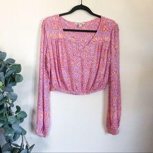 billabong   pink floral crop top blouse small